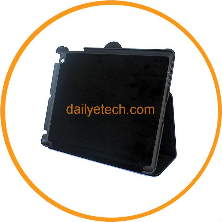Leather Stand Cover for iPad 3 2 Hard Back Cover Case Black from Dailyetech