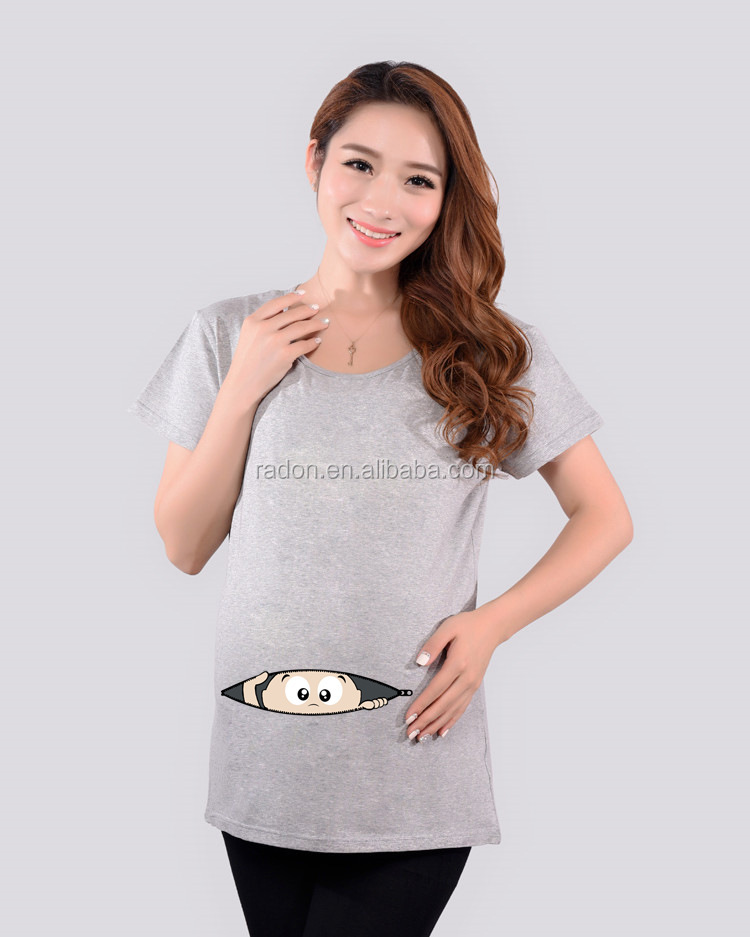 new arrived custom made cotton spandex high quality cute printed wholesale blank maternity t shirts