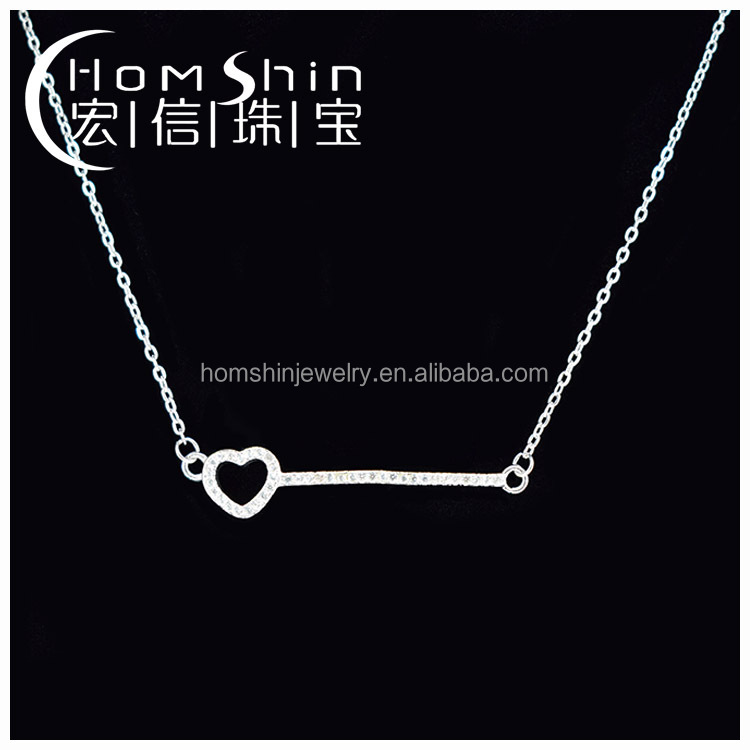 Heart&key shape silver cz necklace