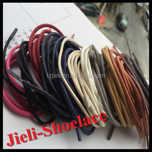 Jieli waxed cotton round shoelaces with glitter shoelace aglet from shoelace waxing machine