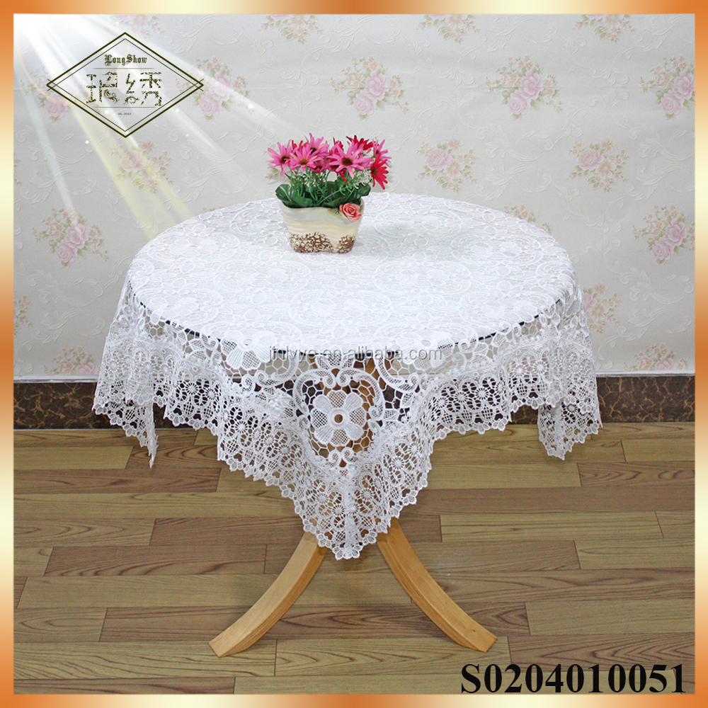 Elegant lace fabric cheap white wedding tablecloths
