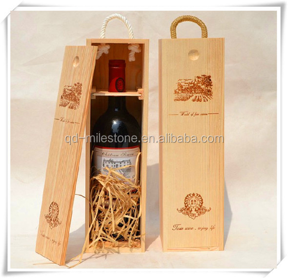 Wholesale Real Wood Wine Carrier Packaging Box With Sliding Top