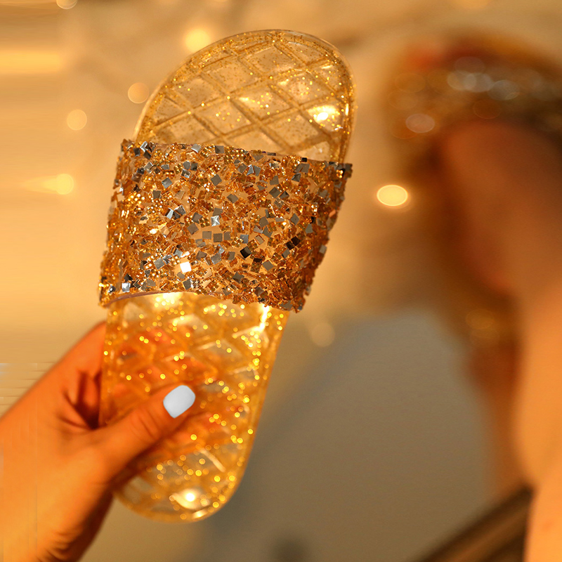 Open Toe Glitter Studded Flat <strong>Sandals</strong>