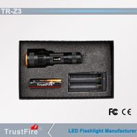 Explosion-proof flashlight TrustFire Z3 focus 18650 zoom flashlight torch,magnetic switch hand powered new portable flashlight