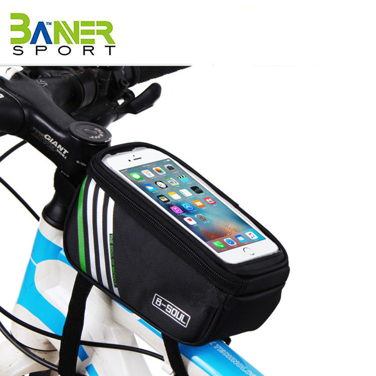 Bicycle Tube Frame Pannier Waterproof Phone Bag for 5''-6'' Screen Size ,Bike Frame Strap Attachment Mount