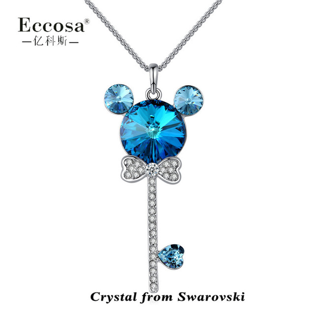Crystal From Swarovski Cat Head Butterfly Knot Cross Key Design Pendant Necklaces