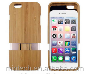 Wood Bamboo phone flip cover case for Iphone 6 6 plus
