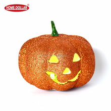 Halloween glitter foam pumpkin shaped light with led for decoration