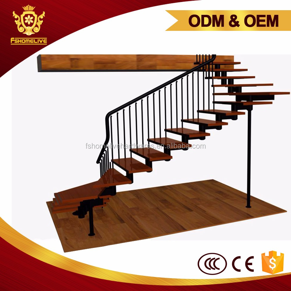 Home Design Indoor L-Shaped Wood Tread Metal Ss Spiral Stair