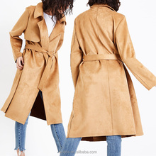 Custom beautiful long jacket design fashion winter women trench coat plus size 2017