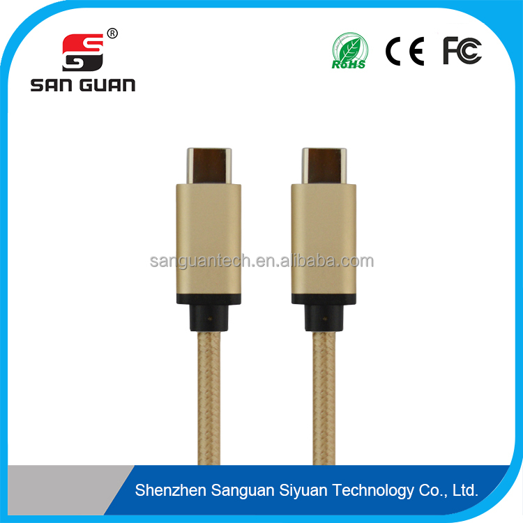 Nylon material of outer jacket braided nylon usb type c to usb type c with aluminium alloy shell