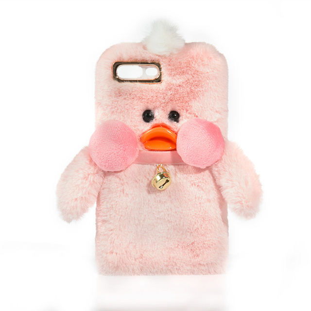 Wholesale new cute candy color duck plush phone case for iPhone 6s 7 8 plus X