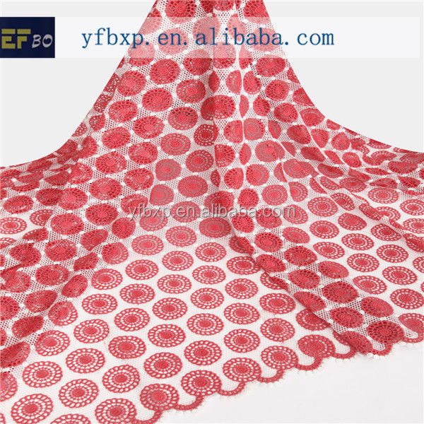 Best sell fashional design embroidery silk italian african swiss lace fabric/ swiss guipure lace