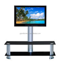 Black Tempered Glass Top Aluminium Tubes TV Stand