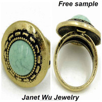 Free Sample Express Shipping 2015 New Fashion Punk Metal Women Jewelrys Faux Turquoise Ring