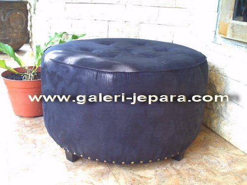 Indoor Furniture - Round Ottoman Full Upholstered - Home Design
