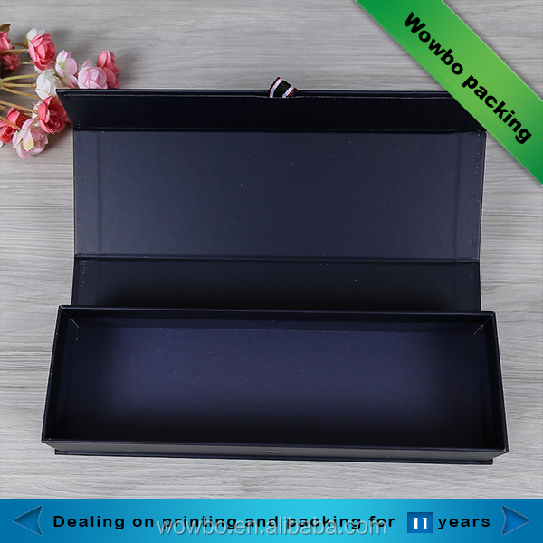 Black foldable book shaped hard cardboard box for wine single bottle packaging