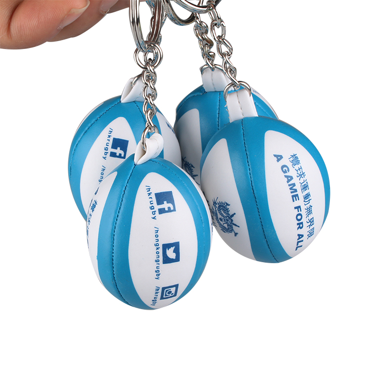 promotional gift PVC soft rugby ball keyring