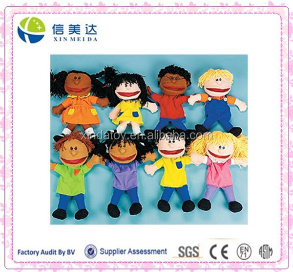 Plush Kids Hand Puppets Set of 8 Multi-Ethnic Educational Puppets