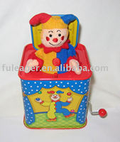Jack in the box toys; Jack in a box; Christmas music tin box
