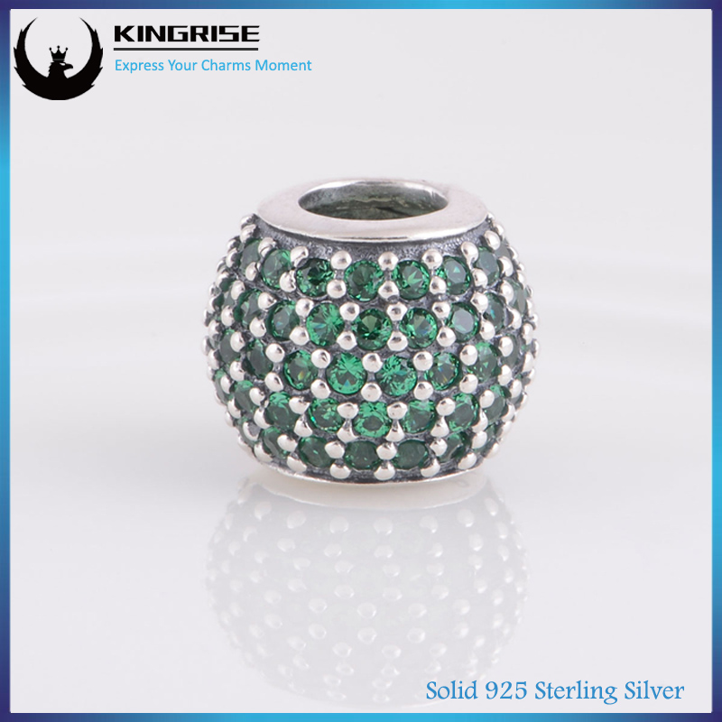 925 sterling silver core with green zirconia crystal pendant charm with Micro Pave setting