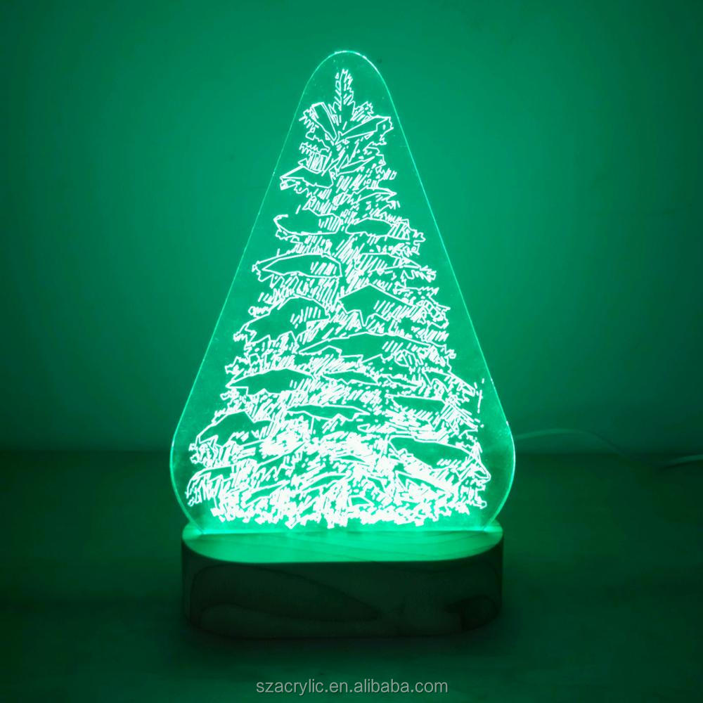 Acrylic Christmas tree 3D LED light acrylic Christmas decoration 3d lamp display