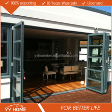 YY Home economic frameless folding door balcony sliding glass door bi-fold door