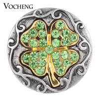 20PCS/Lot Wholesale Vocheng 3 Colors Rhinestone 18mm Four Leaf Clover Ginger Snap Vn-1085*20 Free Shipping