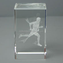 Crystal paper weight 3d laser crystal cube paperweight MH-ZZ001