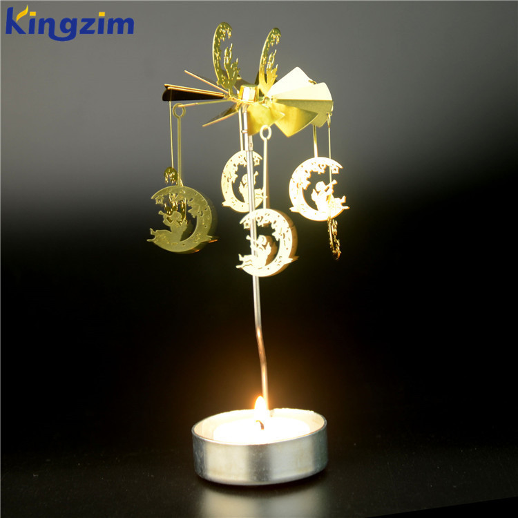 Moon & faerie Tea Light Powered Metal Spinning Tealight Candle Holder