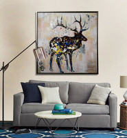 Handmade home accents animal wall framed art canvas oil painting