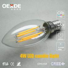 energy saving health light for home candle lamp 4W E14 dimmable led filament bulb