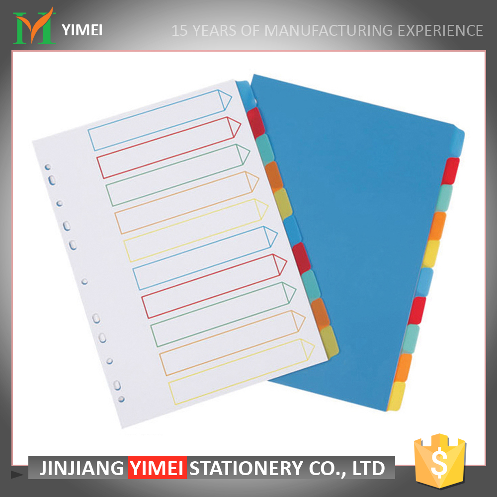 A4 size customized color plastic paper pp index divider