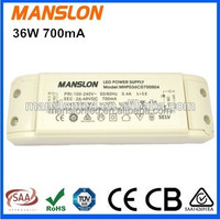 UL listed 24-48V led driver 36W constant current 700mA LED switching power supply