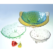 Beautiful Set 4 Collectible Blown Glass Hobnail Footed Serving Bowl