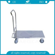 AG-SS032 CE ISO metal frame flat plate hospital stainless steel trolley