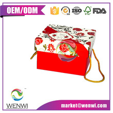 Luxury design foldable cardboard shipping box with rope handle