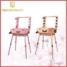 Professional makeup station with lights cosmetic vanity trolley cosmetic case trolley with mirror plastic carry bags with price