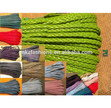 PU cord multicolor Color flat braided cord 5 mm leather bracelet with three-ply braid wholesale