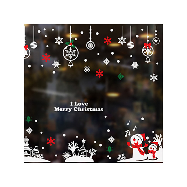 Custom logo adhesive merry christmas wall label sticker, clear outdoor window stickers for new year