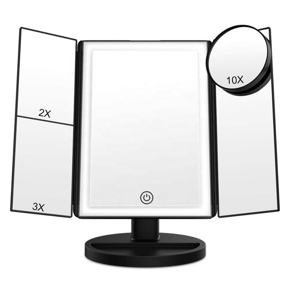 New 2019Vanity Light Beauty <strong>Touch</strong> Dimmable Led Makeup Trifold Mirror