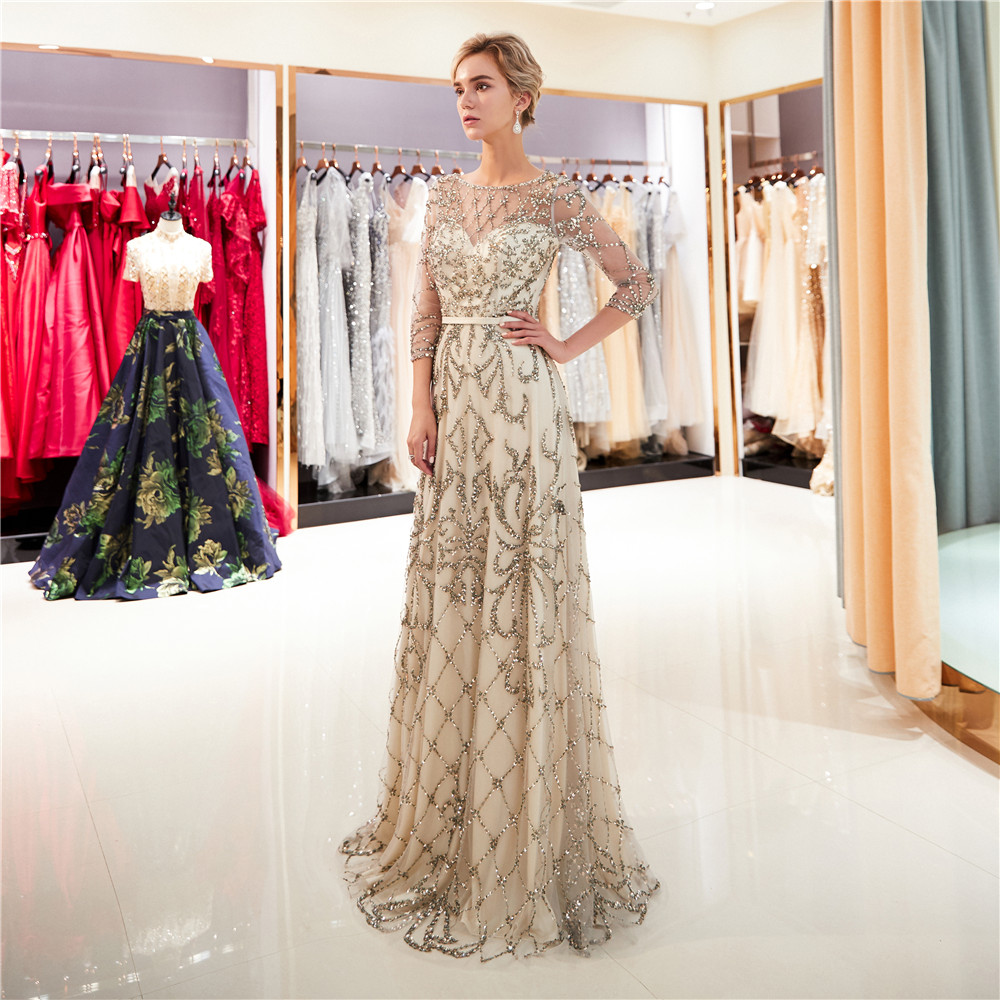 Crystal Evening Dresses 2018 Beaded Lace 3D Floral sequined Prom Dress A-line  wedding evening  Dresses PE25