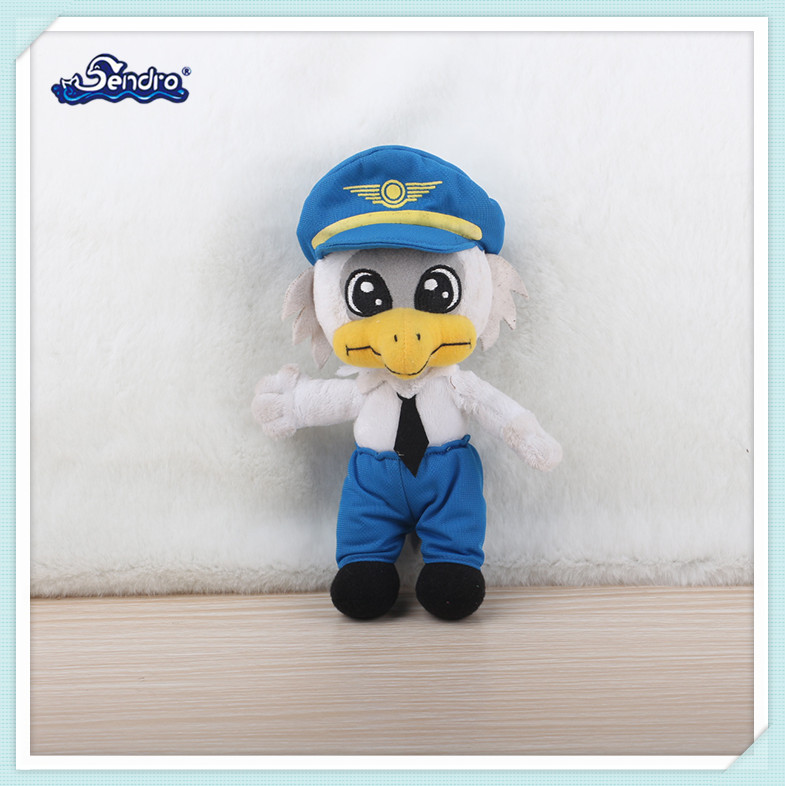 standing plush stuffed cartoon bird mascot plush toy with hat and cloth