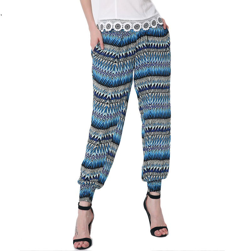 women clothing vintage pattern print pants comfortable loose harem pants for women