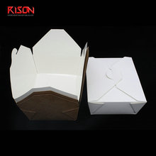 Biodegradable Disposable Take Away Food Folding Packaging Brown Kraft Lunch Paper Box