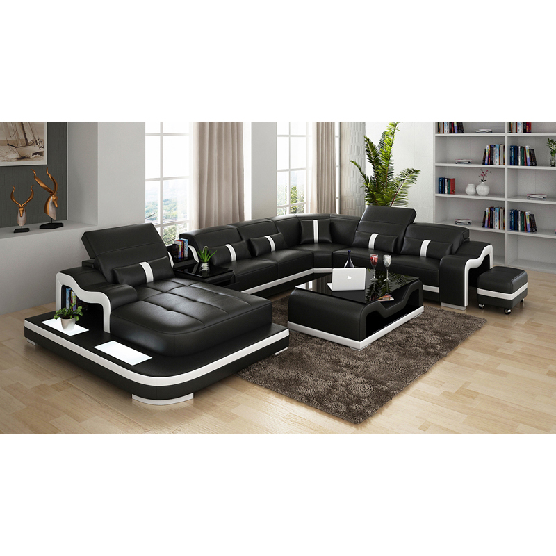Wholesale European Style Genuine Cow Leather U Shape Sectional Sleeper Sofa With Led Lights Buy Sleeper Sofa European Style Sectional Sleeper Sofa Sectional Sleeper Sofa Product On Alibaba Com