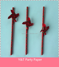 Windmill Paper Straw Christmas Party Part Tableware OEM Welcomed