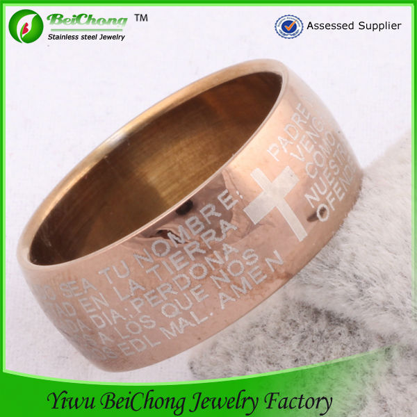 Jewelry manufacturer alibaba china supplier fashion jewelry 18k rose gold stainless steel ring jesus rings