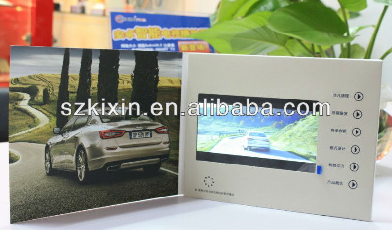 Upscale 7 inch lcd video brochure advertising video book in Artificial crafts