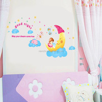 DIY moon infant sleep wall decals Three generations of cartoon room adornment wall stickers Preschool children room decoration